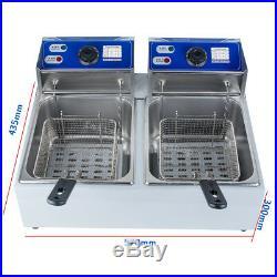 Electric 11L Dual Tanks Deep Fryer Commercial/Home Tabletop Fryer&Basket Scoop