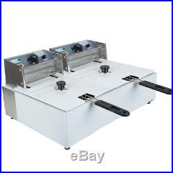 Electric 11L Dual Tanks Deep Fryer Commercial Tabletop Fryer Kitchen Machine CA