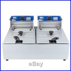 Electric 11L Dual Tanks Deep Fryer Commercial Tabletop Fryer Restaurant Outside