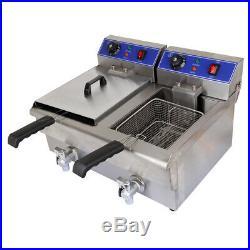 Electric 20L Commercial Deep Fryer Dual Tank Countertop Fryer Restaurant withDrain