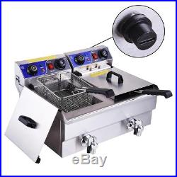 Electric 23.4L Deep Fryer Dual Tank Restaurant Party with Timers Drains French Fry