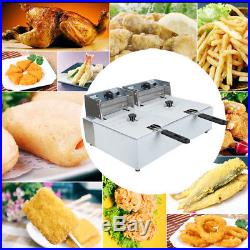 Electric 5.5L+5.5L Dual Tanks Deep Fryer Commercial Tabletop French Fry 110V
