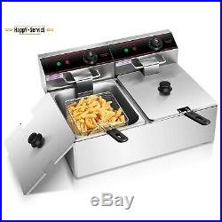 Electric Counter Top Deep Fryer Dual Tank Stainless Steel With 2 Baskets 12L