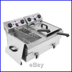 Electric Counter Top Deep Fryer Dual Tank Stainless Steel With 2 Baskets 16L
