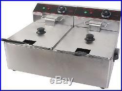 Electric Countertop 5000W Deep Fryer Dual Tank 11L Commercial Restaurant Kitchen