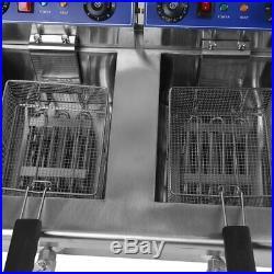Electric Countertop Deep Fryer 26L Dual Tank Commercial Restaurant Meat BR
