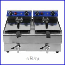 Electric Countertop Deep Fryer 26L Dual Tank Commercial Restaurant Meat LK