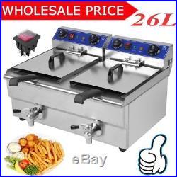 Electric Countertop Deep Fryer 3.3KW Dual Tank 26 Liter Commercial Restaurant KG