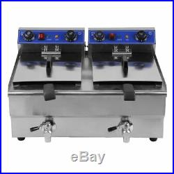 Electric Countertop Deep Fryer 3.3KW Dual Tank 26 Liter Commercial Restaurant OY