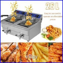 Electric Countertop Deep Fryer 3300W Dual Tank 26 Liter Commercial Restaurant VP