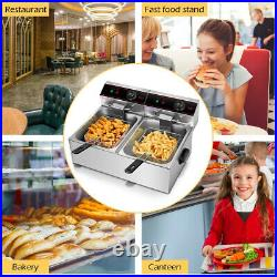 Electric Countertop Deep Fryer 5000W Dual Tank Commercial Home Timer Kitchen New