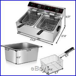 Electric Countertop Deep Fryer Dual Tank 5000W Commercial Home Restaurant Cafe