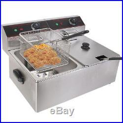 Electric Countertop Deep Fryer Dual Tank Commercial Restaurant 5000W 12L