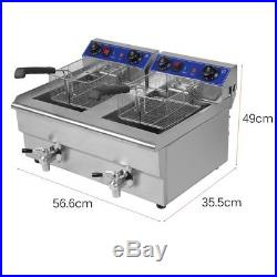 Electric Countertop Deep Fryer Dual Tank Commercial Restaurant Steel with Nozzle V