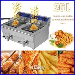 Electric Countertop Deep Fryer Dual Tank Commercial Restaurant Steel with Nozzle X