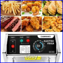 Electric Countertop Deep Fryer with 2 Baskets Commercial 12L Stainless Oil Fryer