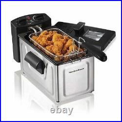 Electric Deep Fryer 2 Liter Stainless Steel Countertop Fry Basket Kitchen Cooker