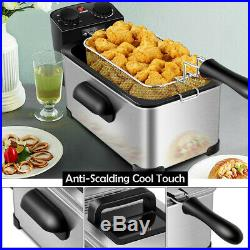 Electric Deep Fryer Basket Timer Large Capacity Thermostat Commercial Home 3.2qt