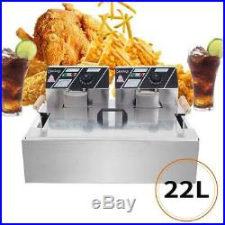Electric Deep Fryer Commercial Tabletop Restaurant Fry Basket with 2 hooks 22L 5KW