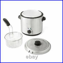 Electric Deep Fryer Round Countertop 1.9L Oil Fries Fat Fry Kitchen Restaurant