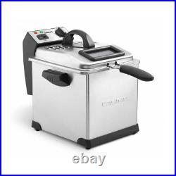Electric Deep Fryer Stainless Steel Adjustable Thermostat Cool Touch Handle Grey