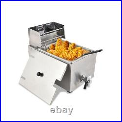 Electric Deep Fryer Tank Commercial Countertop Fry Basket Restaurant Stainless