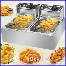 Electric Deep Fryer digital Commercial Restaurant Dual Tank basket 12L 5000W