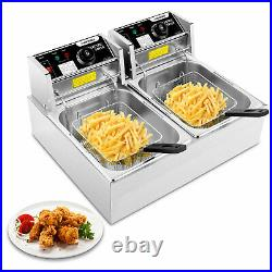 Electric Deep Fryer with Baskets 3600W Countertop Deep Fryer Stainless Steel New