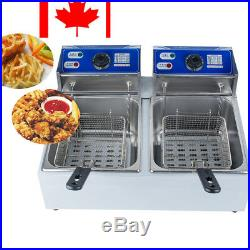 Electric Dual Tanks Deep Fryer Steel Commercial Tabletop French Fry Fast Food CE