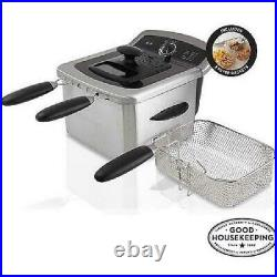 Electric Stainless Steel Deep Fryer 4L Oil Home Cooking Countertop Double Basket