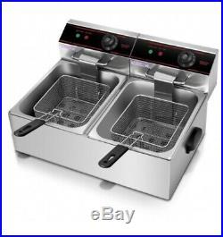 Electric Twin Tank Counter-Top Deep Fryer 5000W