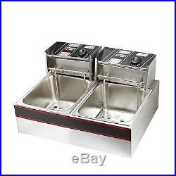 Flexzion Dual Tank Deep Fryer 5000W 12L Liter Electric Countertop Double Bask