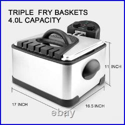 Freidora Electrica Acero Inoxidable Filtro De Olor Electric Deep Fryer Timer NEW