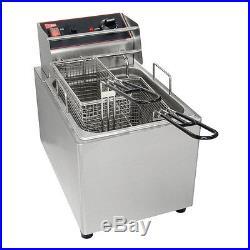GMCW EL15 Electric Deep Fryer 15lb Removable Tank 1 Pot With 2 Baskets