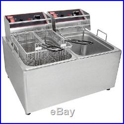 GMCW EL2X25 Electric Deep Fryer Counter Top With Two 15lb Removable Tanks