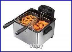 Hamilton Beach 12-Cup Electric Professional-Style Deep Fryer Silver Dual Baskets