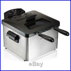 Hamilton Electric Beach Deep Fryer 3 Qt. Capacity 3-Basket 1800-Watt Timer