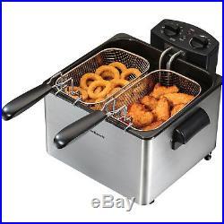 Home Double Deep Fryer 4 Qt. Electric Stainless Steel 3 Baskets Hamilton Beach