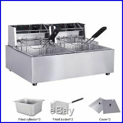 KAY 110V Commercial Electric Deep Fryer with Basket 12L Tabletop Machine for Fry