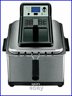 KRUPS KJ502D51 Deep Fryer, Electric Deep Fryer, Stainless Steel Triple Basket F