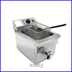 KWS DY-6 Commercial 1750W Electric Deep Fryer with Faucet Drain Valve System