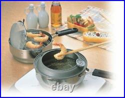 Kakusei Tempura Stainless Steel Fried Pot Kitchen Deep Fryer From Japan