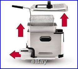 Kitchen Cooking Deep Fryer Electric Home Oil Filter Silver Stainless Steel Food