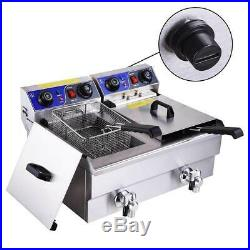 Large 23.4L Electric Dual Tank Deep Fryer Restaurant Chicken French Fry +Drains