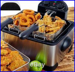 Large Deep Fryer Double Basket Twin Countertop 1700W Fried Food Electric Parties