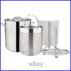 Large Stainless Steel CrawfishStock Pot withSteamer Deep Fryer Seafood Boiling Pot