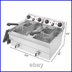 Large Tabletop 25QT Electric Deep Fryer Commercial Restaurant Fry Basket 2 Tank