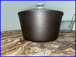 Lodge Cast Iron 3 Qt Deep Fryer With Replacement Basket & Lid, Cleaned Seasoned