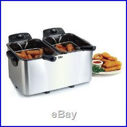 Maxi Matic Elite Platinum Dual Deep Fryer, 2 x 4 qt, White