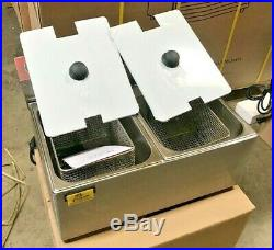 NEW 16L Double Electric Deep Fryer Counter Top Model Single Basket With Cover 110V
